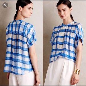 Maeve | 100% Silk Plaid Button-Down Blouse